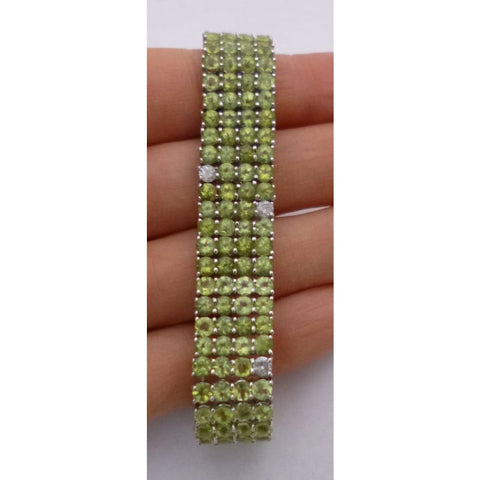 Image of Luxinelle Peridot Bracelet With Diamonds 29.41 Tcw - 14K White Gold - Bracelet