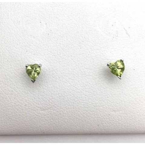 Image of Luxinelle Peridot Stud Earrings - 4Mm Heart Shaped Green 0.50 Carat 14K - Earrings