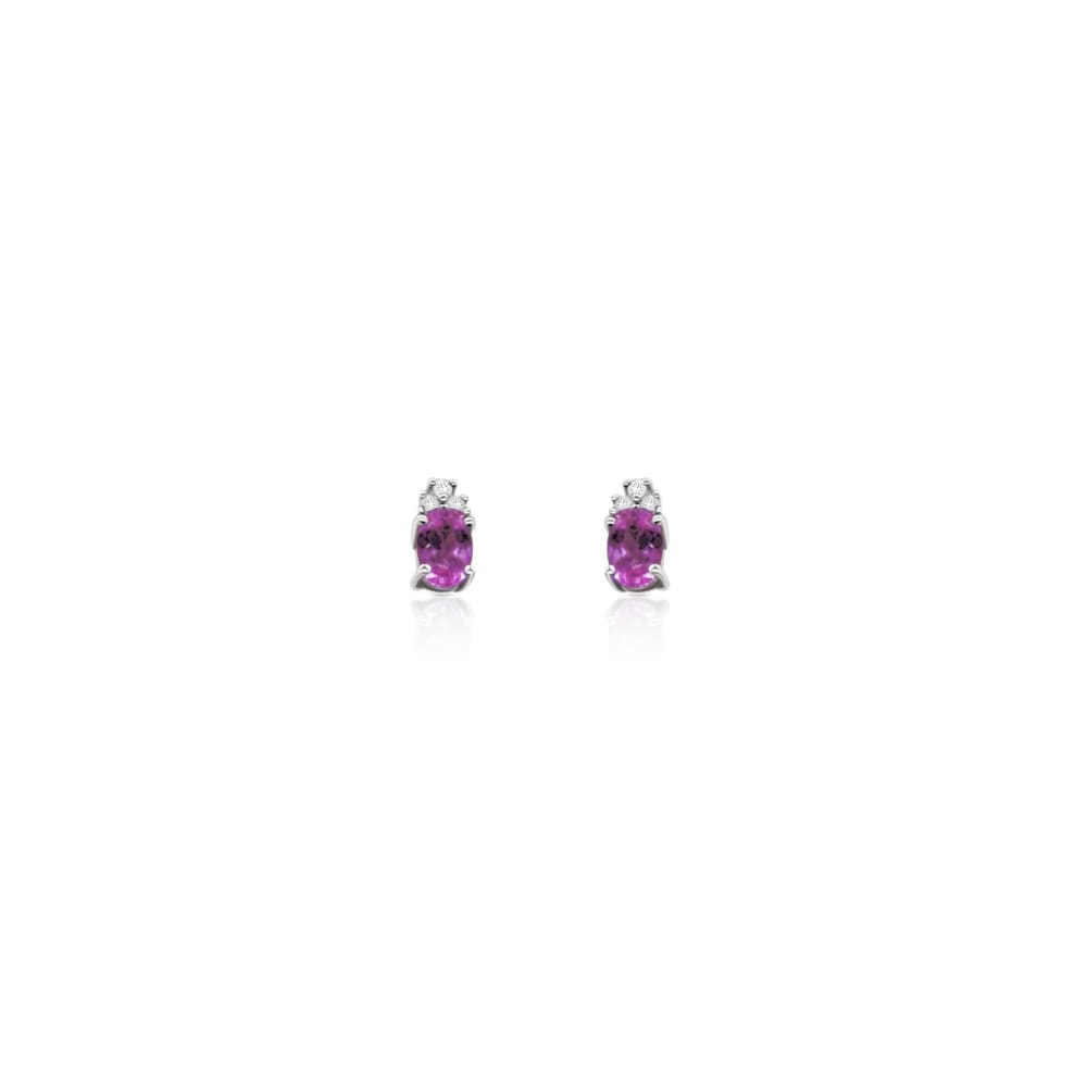 Luxinelle Pink Topaz And Diamond Earrings 14K White Gold - Earrings