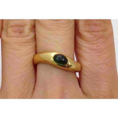 Image of Luxinelle Polished Green Tourmaline Ring - 18K Yellow Gold Ring - Size 6.25 - Ring