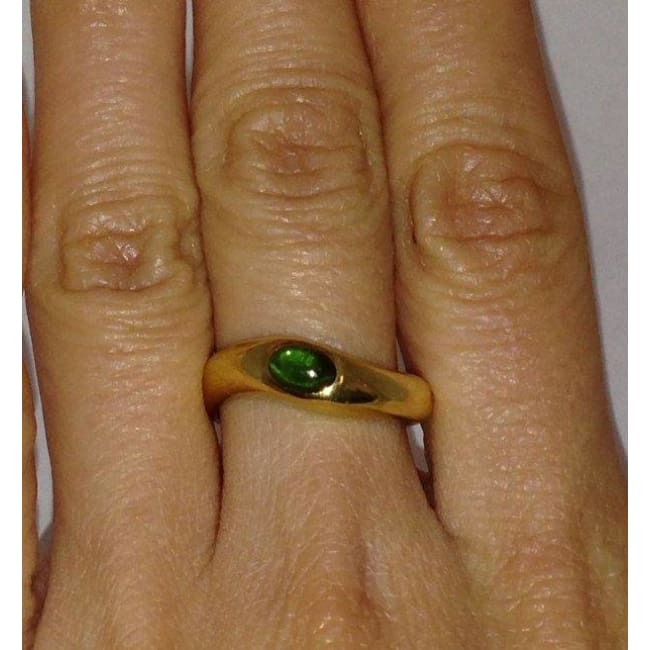 Luxinelle Polished Green Tourmaline Ring - 18K Yellow Gold Ring - Size 6.25 - Ring
