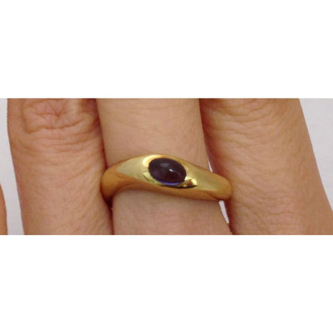 Luxinelle Polished Tanzanite Yellow Gold 18K Ring In Size 6.25 By Luxinelle® Jewelry - Ring