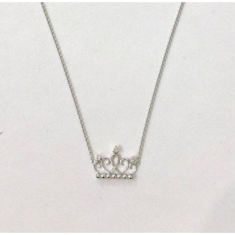 Image of Luxinelle Princess Crown 18K White Gold Diamond Necklace 0.04Tcw Si/g - Necklace