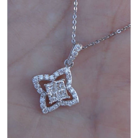 Image of Luxinelle Princess Cut Diamonds In Halo Pendant - 14K White Gold (0.50 Carat) - Necklace