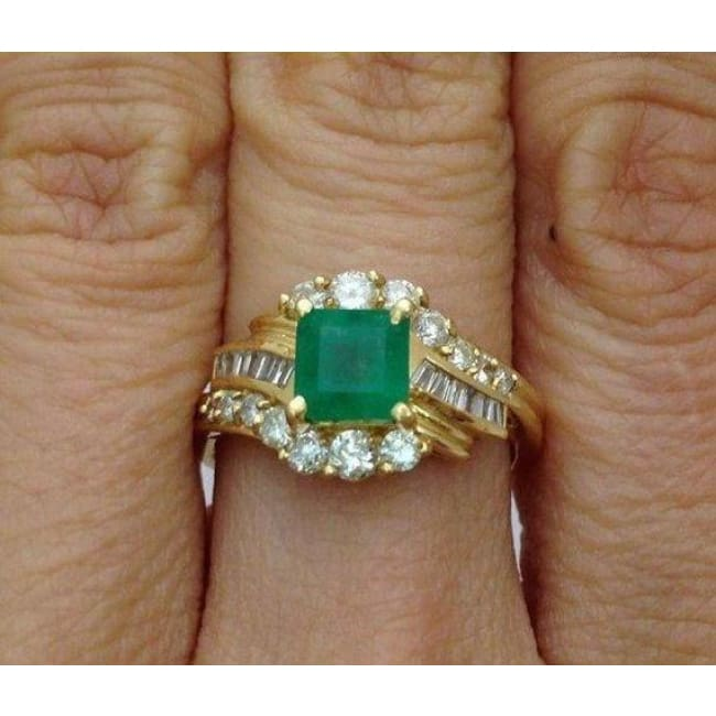Luxinelle Princess Cut Green Emerald Ring With Round And Baguette Diamonds 14K By Luxinelle® Jewelry - Ring