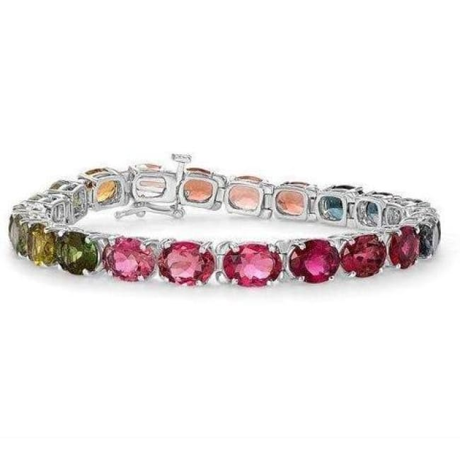 Luxinelle Rainbow Multi-Color Tourmaline Bracelet - One Of A Kind Piece 14K White Gold - Bracelet