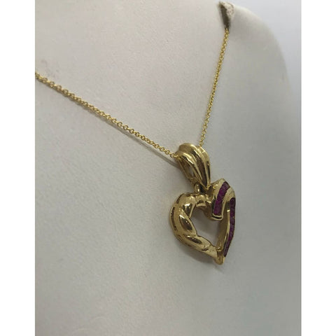 Luxinelle Red Ruby Heart Pendant In 14K Yellow Gold 0.65 Ct - Necklace