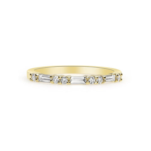 Image of Luxinelle Ring Of Baguette And Round Diamonds - Rose Yellow And White Gold 14K Wedding Band By Luxinelle® Jewelry - Ring