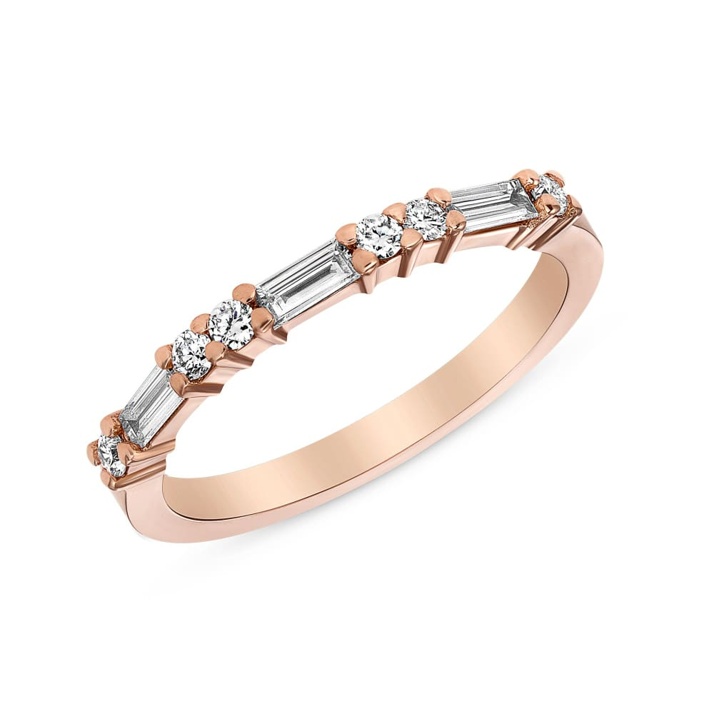 Luxinelle Ring Of Baguette And Round Diamonds - Rose Yellow And White Gold 14K Wedding Band By Luxinelle® Jewelry - Ring