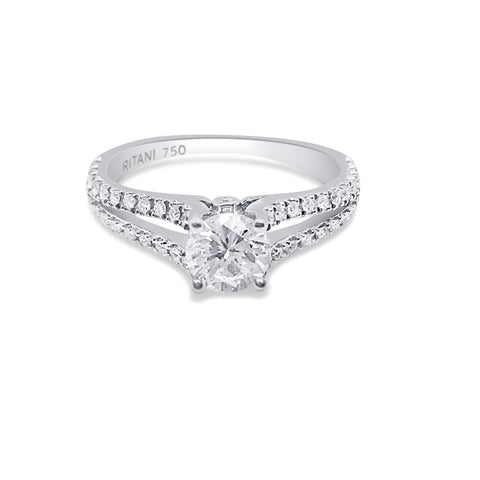 Image of Luxinelle Ritani Setting 0.86 Carat Diamond Split Shank 18K White Gold Ring By Luxinelle® Jewelry - Ring