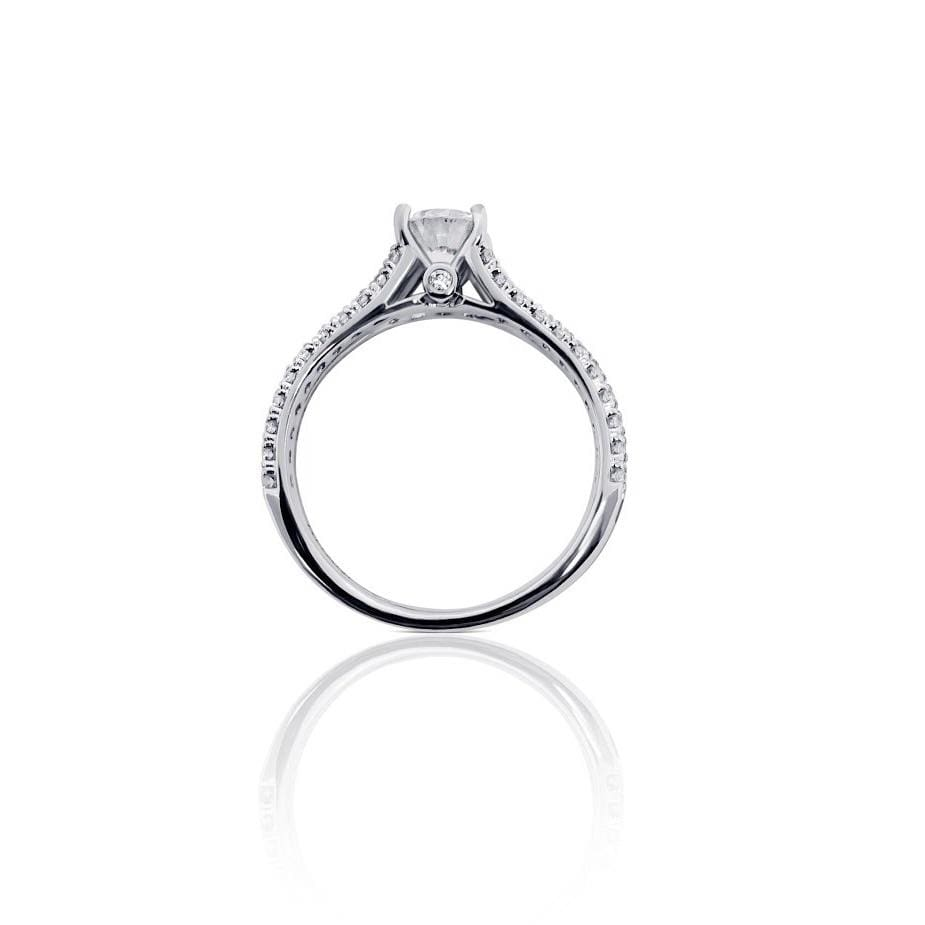 Luxinelle Ritani Setting 0.86 Carat Diamond Split Shank 18K White Gold Ring By Luxinelle® Jewelry - Ring