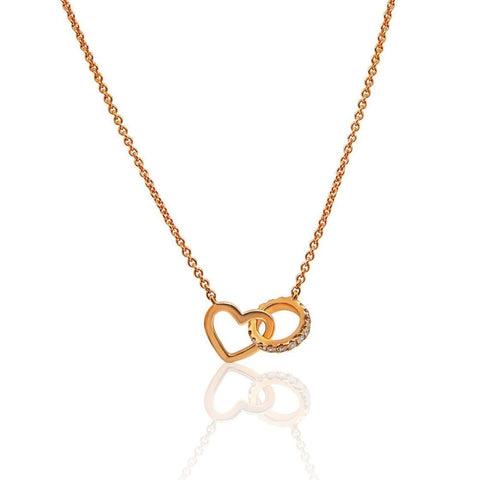 Luxinelle Rose Gold Interlocking Heart And Diamond Circle On A Chain Necklace - 18K - Necklace