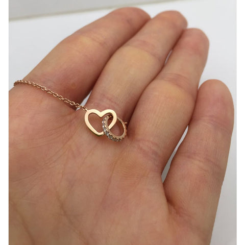 Image of Luxinelle Rose Gold Interlocking Heart And Diamond Circle On A Chain Necklace - 18K - Necklace