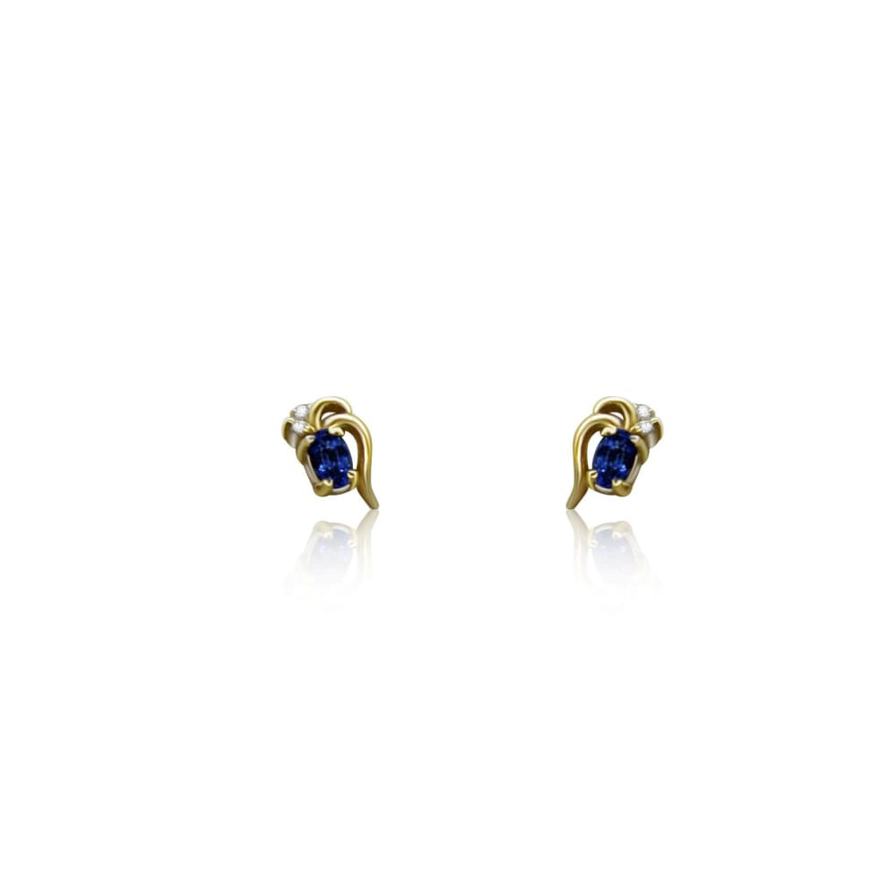 Luxinelle Tanzanite And Diamond 14K Yellow Gold Stud Earrings - Earrings