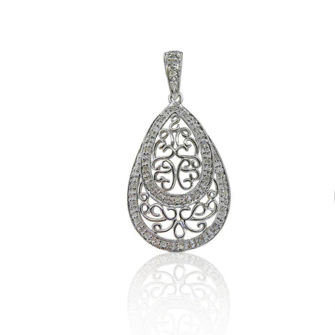 Luxinelle Teardrop Filagree Diamond Pendant With Chain In 14K White Gold - Necklace