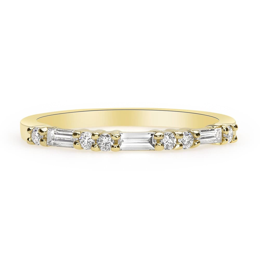 Luxinelle Thin Wedding Band Baguette Round Diamonds - 14K Yellow Rose White Gold By Luxinelle® Jewelry - Ring