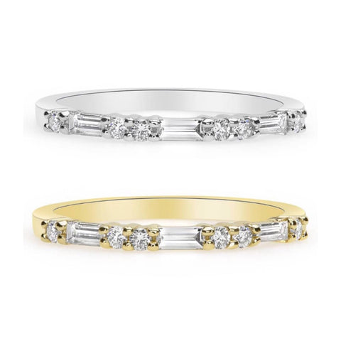 Image of Luxinelle Thin Wedding Band Baguette Round Diamonds - 14K Yellow Rose White Gold By Luxinelle® Jewelry - Ring