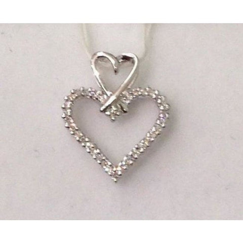 Image of Luxinelle Two Heart Diamond Pendant In 14K White Gold Heart On Heart - Necklace