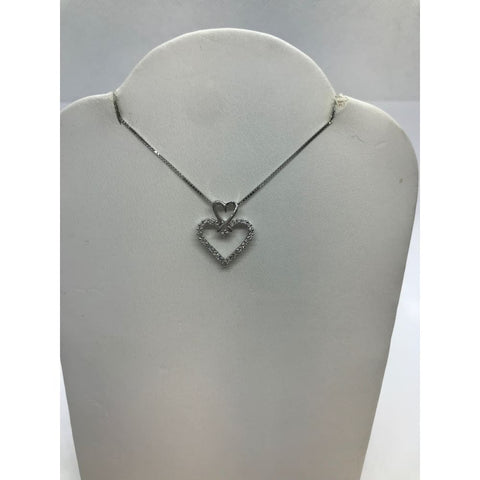 Luxinelle Two Heart Diamond Pendant In 14K White Gold Heart On Heart - Necklace