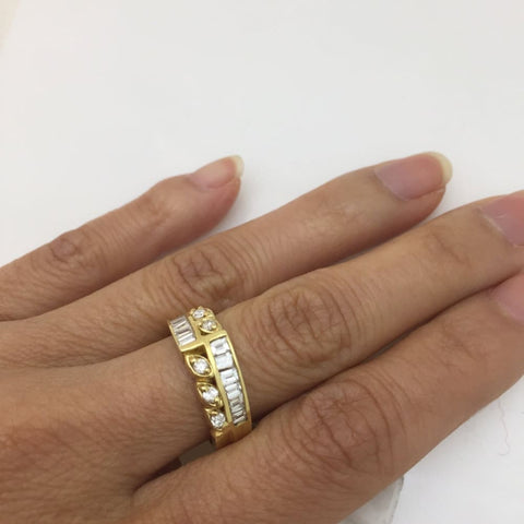Image of Luxinelle Unique Wide Of Baguette And Round Diamond Band 14K Yellow Gold By Luxinelle® Jewelry - Ring