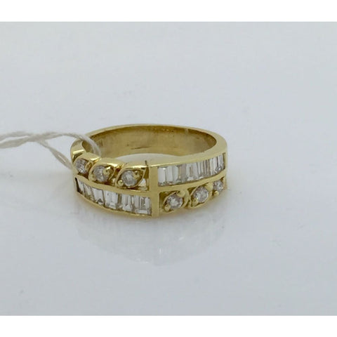 Luxinelle Unique Wide Of Baguette And Round Diamond Band 14K Yellow Gold By Luxinelle® Jewelry - Ring