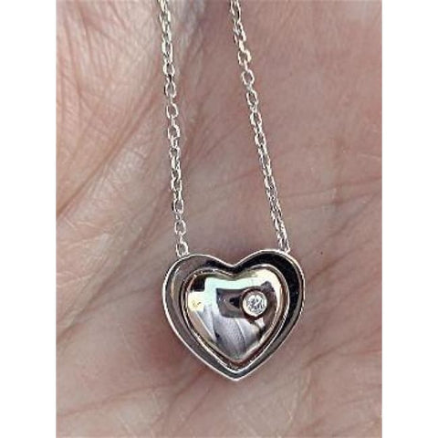 Luxinelle Wear 4 Ways 0.25 Carat Diamond Heart Pendant On A Chain - 18K White Gold - Necklace