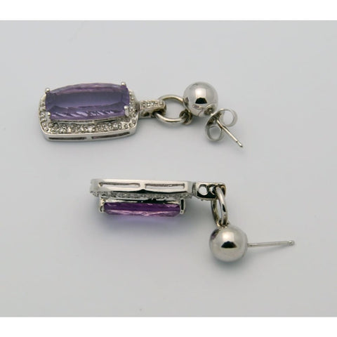 Image of Luxinelle White Gold Amethyst Diamond Drop Earrings -14K - Earrings