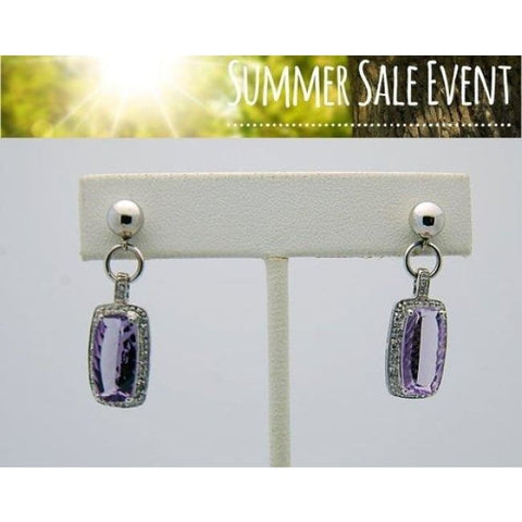 Luxinelle White Gold Amethyst Diamond Drop Earrings -14K - Earrings