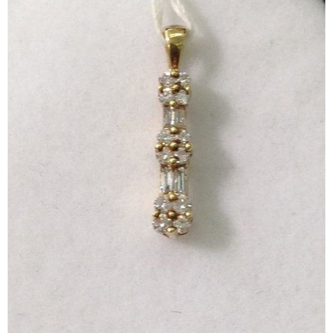 Image of Luxinelle Yellow Gold Diamond Drop Pendant - Baguette And Round Diamonds 14K - Necklace