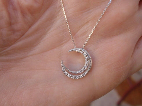 18K White Gold Crescent Moon Diamond Pendant on a Chain