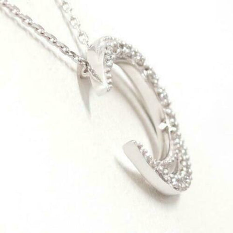 Image of 18K White Gold Crescent Moon Diamond Pendant on a Chain