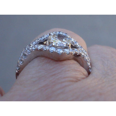 Image of Natural Diamond Engagement Ring 14K White Gold 1.87 Tcw Vs1 E By Luxinelle® Jewelry - Ring