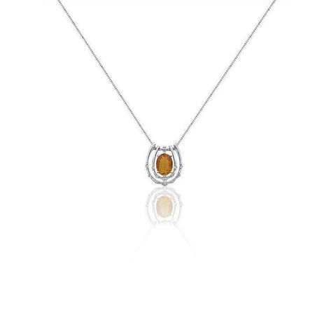 Orange Citrine And Diamond Pendant In 14K White Gold By Luxinelle