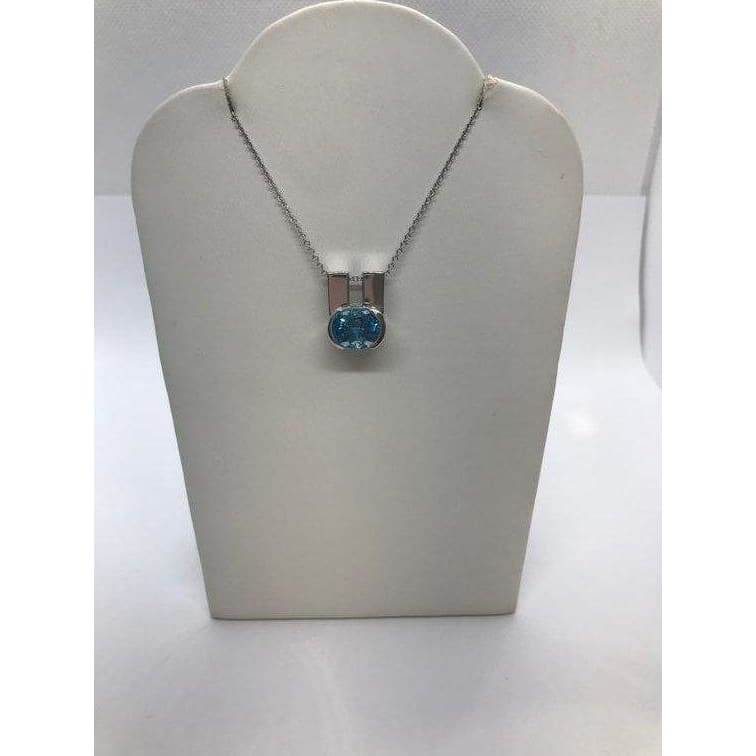 Oval Blue Topaz Pendant Set East West In 14K White Gold Necklace By Luxinelle