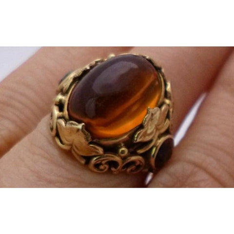 Image of Oval Cabochon Citrine Ring 14K Yellow Gold - Antique Vintage Filagree - November Birthstone