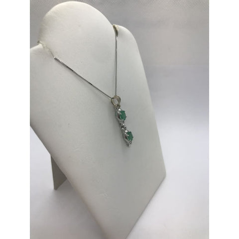 Oval Cut Green Emeralds On 14K White Gold Necklace Pendant By Luxinelle