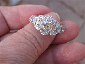 1 Carat Peachy Pink Oval Cut Diamond 14K White Gold Engagement Ring