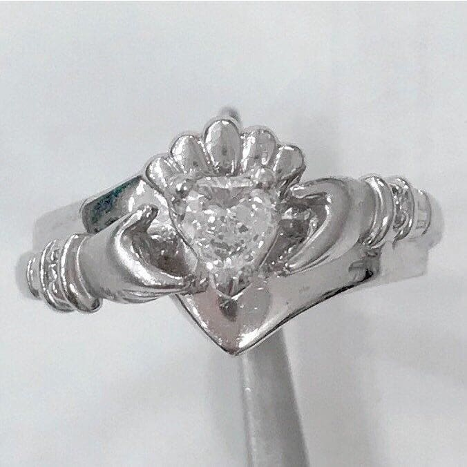 Preowned 14K White Gold Claddagh Ring - 0.25 Carat Heart Shaped Diamond - Ring