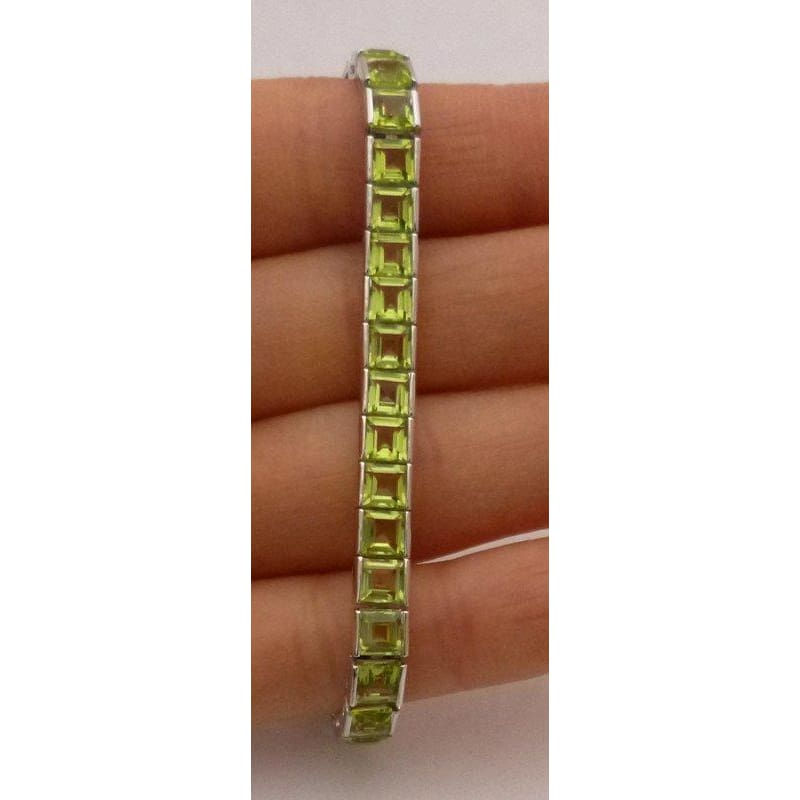Princess Cut Green Peridot Bracelet - August Birthstone Mothers Day 14K White Gold