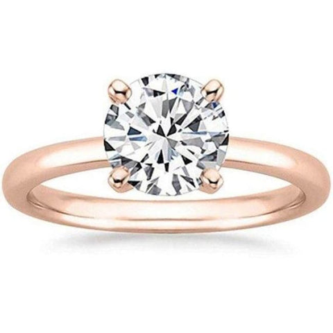 Rose Gold 1/2 Carat Gia Certified Diamond Engagement Ring 0.44 Ct Vs2 I 4 Prong 14K