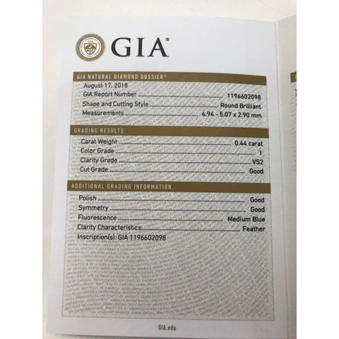 Image of Rose Gold 1/2 Carat Gia Certified Diamond Engagement Ring 0.44 Ct Vs2 I 4 Prong 14K
