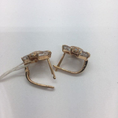 Image of Rose Gold Diamond And White Topaz Earrings 14K French Clip