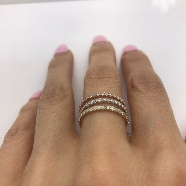 Rose Gold Diamond Band - Extra Sparkly 26 Diamonds 0.39 Ctw For Wedding And Stacking Rings By Luxinelle® Jewelry - Ring