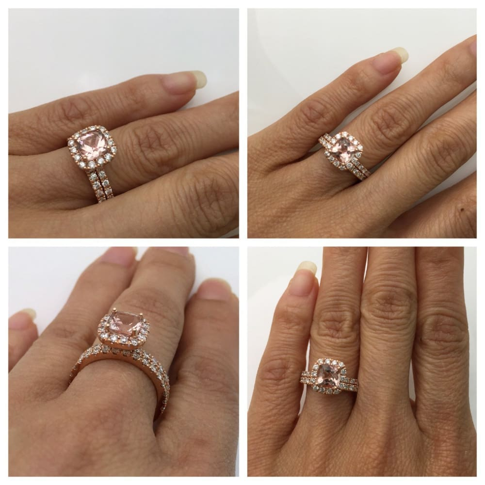 Rose Gold Morganite Wedding Ring Bridal Set Cushion Cut Diamond Halo With Matching Band By Luxinelle® Jewelry - Ring