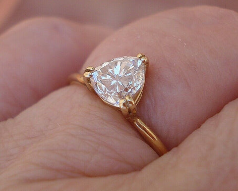 Image of Trillion Diamond Solitaire Ring 0.73 ct VS 14K Yellow Gold
