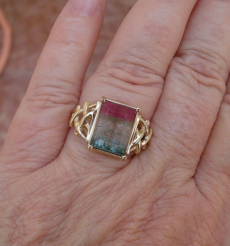 Image of Watermelon Tourmaline 5.0 ct Emerald Cut Solitaire Custom Ring 14K Yellow Gold
