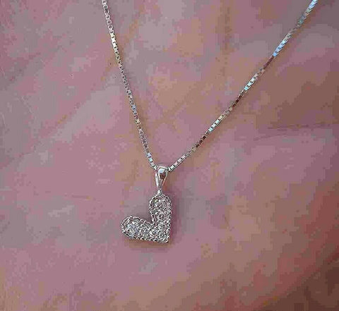 Diamond Pave Pendant Necklace Modern Heart 14K White Gold