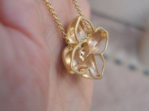 Champagne Diamond 0.25 ct Flower Pendant Necklace 5.1 grams 14K Yellow Gold