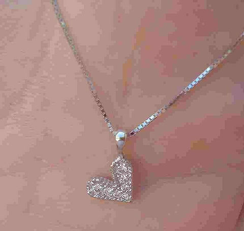 Image of Diamond Pave Pendant Necklace Modern Heart 14K White Gold