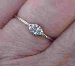 Diamond Solitaire Stack or Promise Ring Bezel Set 0.25 ct.14K White Gold